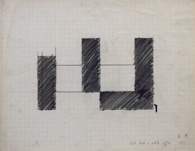 "Michael Heizer, born 1944, Untitled - Painting Study, 1967, Graphite on Graph Paper, H 17"" x W 22"",  Signed with Initials and Dated Lower Right – ""M.H. '67"", Inscribed Lower Right – ""flat black + white latex"""