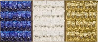 "ARMAN, Monochrome Accumulations - Blue, White & Gold, triptych, circa 1986, Acrylic Paint Tubes on Canvas, H 16"" x W 12"", each; H 20.5"" x W 41.5"", framed, Each, Signed ""Arman"" Verso"
