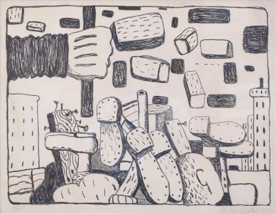 "Philip Guston, 1913 - 1980, The Street, 1970, Lithograph on Paper, H 20"" x W 26.25"", Signed and Dated Lower Right – ""Philip Guston '70"""