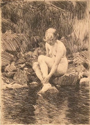 """Anders Zorn, 1860 - 1920, Dagmar, 1912, Etching, H 9.675"""" x W 7"""", Signed Lower Right"""