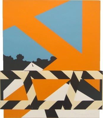 "Allan D'Arcangelo, 1930 - 1998, Bridge Barrier, 1969, Screenprint in Colors, H 25.5"" x W 22"", Signed and Dated Lower Right - ""D'Arcangelo, 1969"", Edition of 120"
