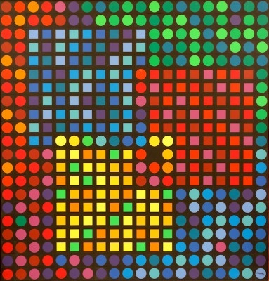"""Victor Vasarely, 1906 - 1997), Orion Noir, 1970, Polystyrene Collage with Polyester Resin, Frame H 41"""" x W 39.75"""", Signed Lower Right"""