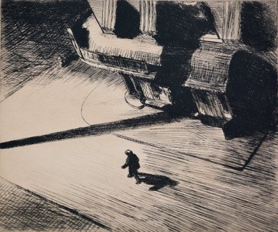"Edward Hopper, 1882 - 1967, Night Shadows, 1921, Etching, H 6.875"" x W 8.25"", Signed Lower Right"
