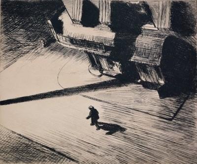 "Edward Hopper, 1882 - 1967, Night Shadows, 1921, Etching, H 6.875"" x W 8.25"", Signed Lower Right"