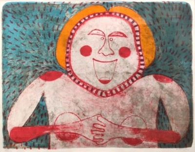 """Rufino Tamayo, 1899 - 1991, Woman Smiling from the 'Women' Suite, 1969, Lithograph in Colors, H 21"""" x W 27"""",  Signed Lower Right in Pencil"""