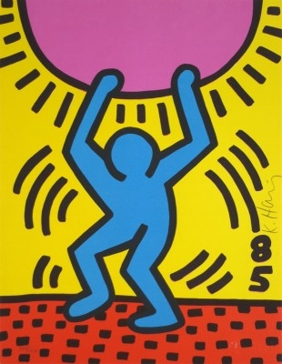 """Keith Haring, 1958 - 1990, International Youth Year, 1985, Lithograph, H 11"""" x W 8.5"""", Signed"""