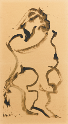 """Willem de Kooning, 1904 - 1997, Untitled, Man Standing, Facing Left, 1970, Lithograph on Brown Japan Paper, H 46.125"""" x W 23.25"""", Signed"""