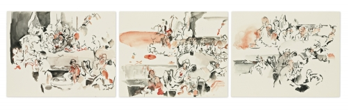 """3 Studies After """"An Election: An Election Entertainment"""" by William Hogarth, 2004"""