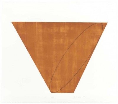 """Robert Mangold, born 1937,  III, from Attic Series I (I-V) 1990-1991, Aquatint and Etching on Somerset Satin paper, H 32"""" x W 36"""", Signed Lower Right in Pencil"""