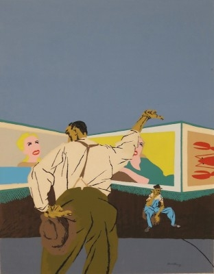 "Robert Gwathmey, 1903 - 1988, The Hitchhiker, 1937, Screenprint in Colors, H 16.75"" x W 13"", Signed"