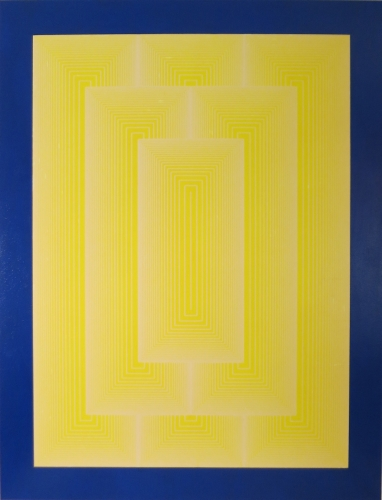 "RICHARD ANUSZKIEWICZ, Reflections III - White Line, 1979, Acrylic On Gessoed Masonite With Screenprint, H 61.125"" x W 47.125"",  Signed, Edition # and Dated Lower Right"