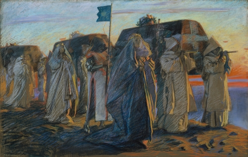 Edwin Austin Abbey, Dirge of the Three Queens, 1895, Pastel on Paper, Signed and Dated