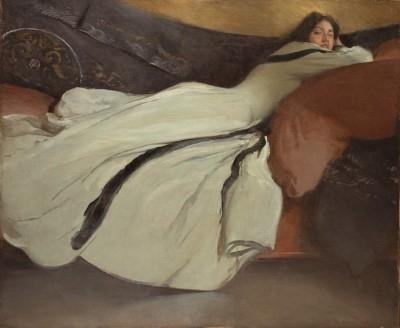 JOHN WHITE ALEXANDER, Repose, 1895, Oil on Canvas, Signed