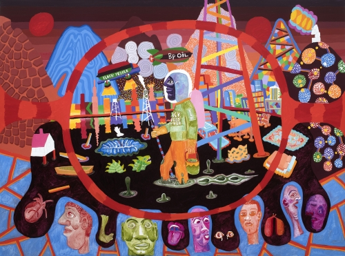 """PETER WILLIAMS, """"Black Peoples Oil,"""" 2019 (oil on canvas, 72 x 96 inches).   © Peter Williams, Courtesy the artist and Luis De Jesus Los Angeles"""