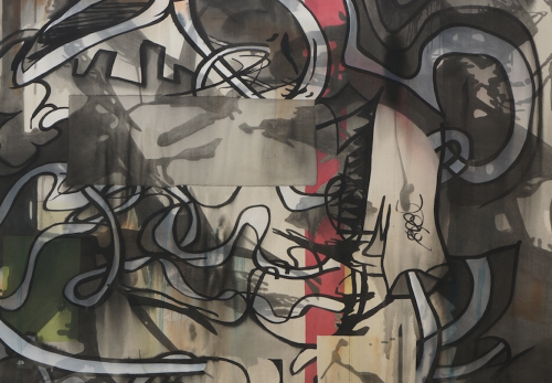 Detail Shot of Jan-Ole Schiemann, Fusel, 2014. Ink and acrylic on canvas, 70.9 x 61 in, 180 x 155 cm (JS14.010)