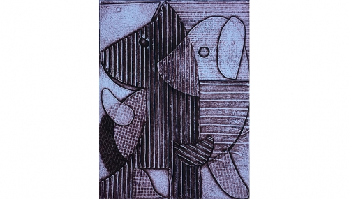Ulrike Müller's print of 2 dogs embracing, made in tones of black and purple, layered in space with cross-hatching