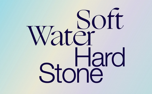 text that reads sold water hard stone against a pastel background