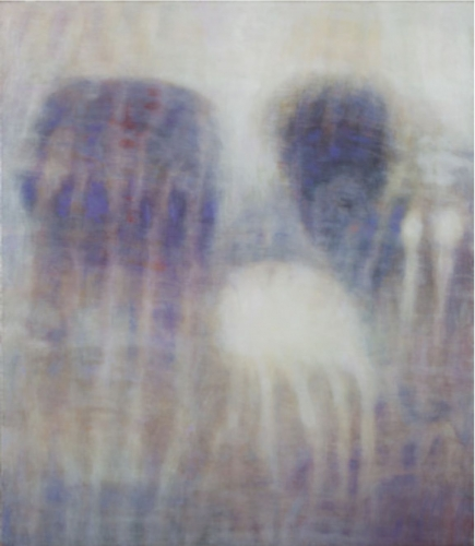 A purple, white, yellow and blue painting, abstract.