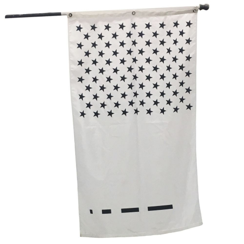 A white flag with black stars and black lines