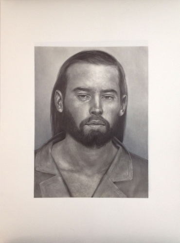 A pencil drawing of a bearded, long haired man