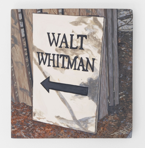 "A painting of a white sign that says ""Walt Whitman"" with an arrow pointing left"