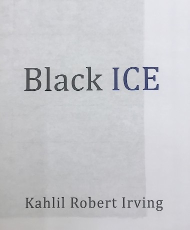 "The front cover of ""Black ICE,"" which shows the title and the artist's name at the bottom of the image"