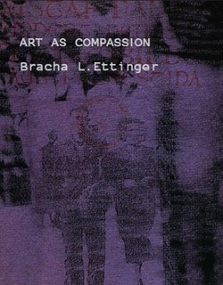 """The front cover of """"Art as Compassion,"""" with a purple and black drawing by Bracha L. Ettinger"""