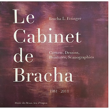 "An image of the cover of ""Le Cabinet de Bracha,"" which has a ground of red-pink-purple hues meshed together and the text in white"