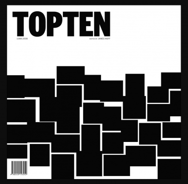"""The cover of """"Top Ten 1998–2008,"""" which is black and white, with the title in Artforum font in black and blocks of black at the bottom half of the cover."""