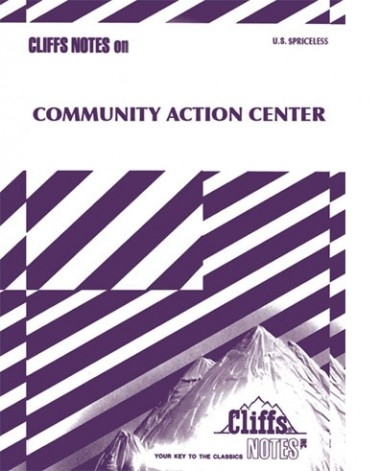 "The front cover of ""Community Action Center"" zine that resembles an official Cliff Notes volume but with purple."