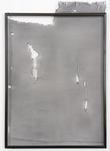A photograph of a traditional domestic screen from a window that is within a black frame with a number of holes and tears within it.