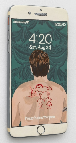 A painting of Catherine Opie's famous back photograph with a couple and house, painted as the background of a photo-realist iPhone