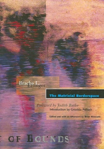 "The cover of ""The Matrixial Borderspace,"" which includes a drawing by Bracha L. Ettinger in tones of black, purple, pink, and orange"