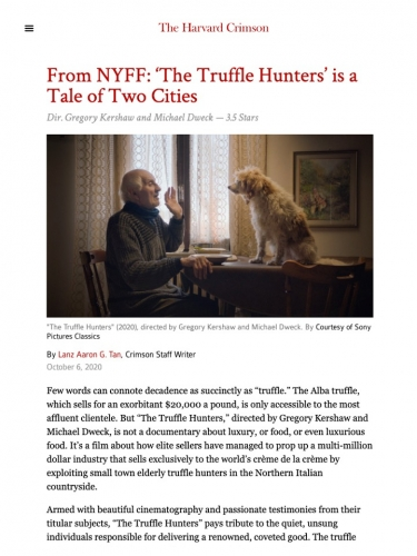 From NYFF: 'The Truffle Hunters' is a Tale of Two Cities