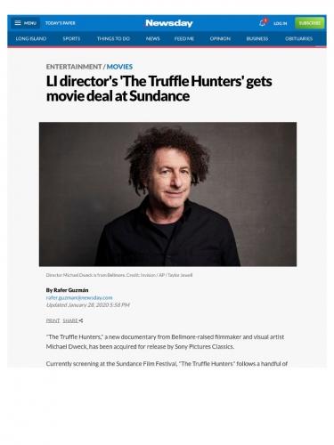 LI director's 'The Truffle Hunters' gets movie deal at Sundance