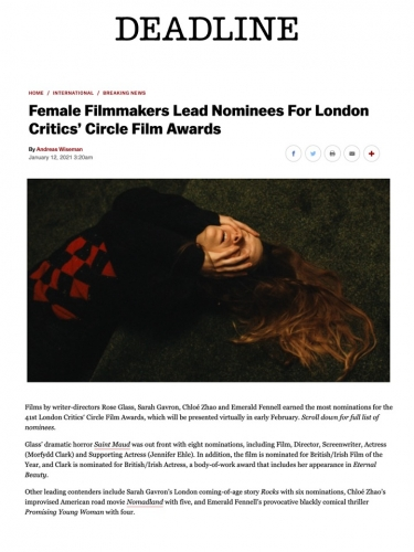 Female Filmmakers Lead Nominees For London Critics' Circle Film Awards