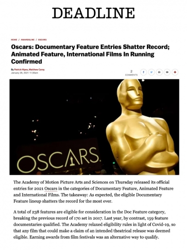 Oscars: Documentary Feature Entries Shatter Record; Animated Feature, International Films In Running Confirmed