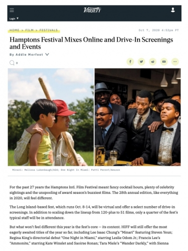 Hamptons Festival Mixes Online and Drive-In Screenings and Events