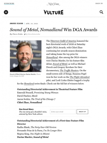 Sound of Metal, Nomadland Win DGA Awards