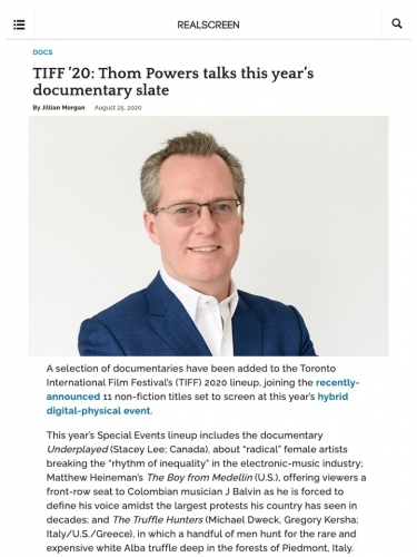 TIFF '20: Thom Powers talks this year's documentary slate