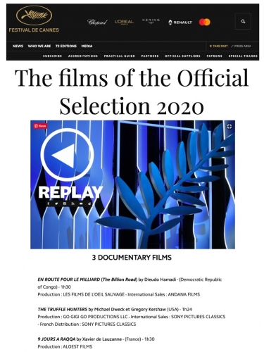 The Films of the Official Cannes Films Festival 2020