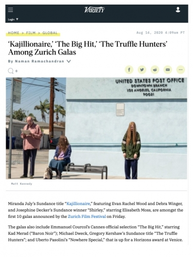 'Kajillionaire,' 'The Big Hit,' 'The Truffle Hunters' Among Zurich Galas