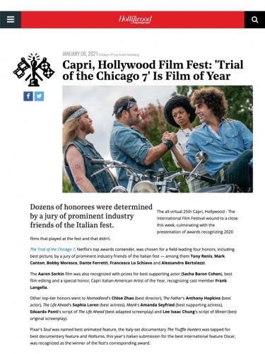 Capri, Hollywood Film Fest: 'Trial of the Chicago 7' Is Film of Year