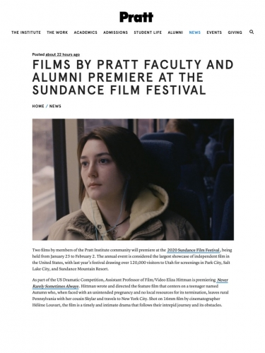 Films by Pratt Faculty and Alumni Premiere at the Sundance Film Festival