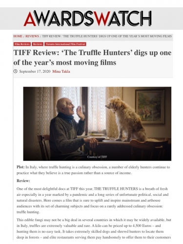 TIFF Review: 'The Truffle Hunters' digs up one of the year's most moving films