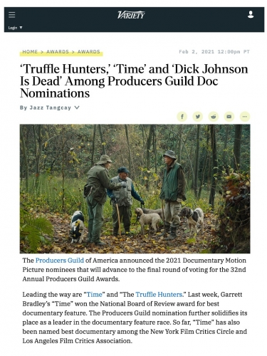 'Truffle Hunters,' 'Time' and 'Dick Johnson Is Dead' Among Producers Guild Doc Nominations