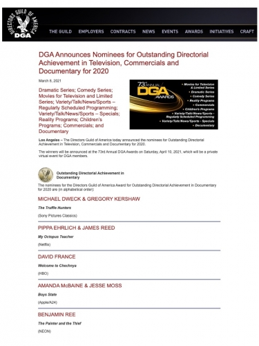 DGA Announces Nominees for Outstanding Directorial Achievement in Television, Commercials and Documentary for 2020