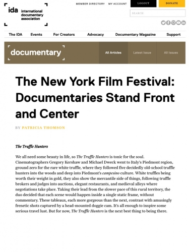 The New York Film Festival: Documentaries Stand Front and Center