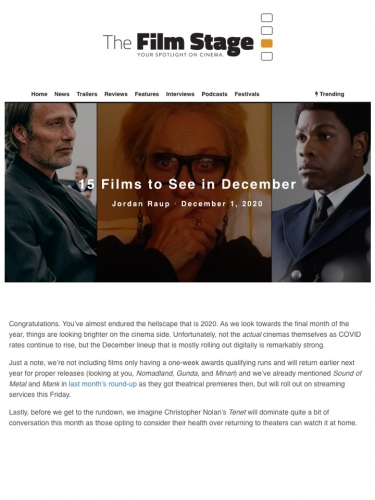 15 Films to See in December