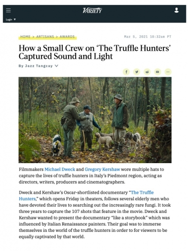 How a Small Crew on 'The Truffle Hunters' Captured Sound and Light
